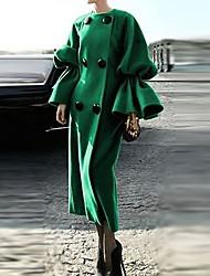 Недорогие -Жен. Повседневные Наступила зима Длинная Пальто, Однотонный Круглый вырез Длинный рукав Полиэстер Зеленый