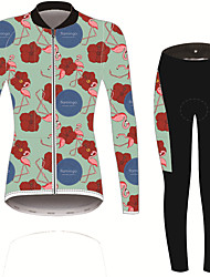 cheap -21Grams Women's Long Sleeve Cycling Jersey with Tights Green Solid Color Floral Botanical Bike UV Resistant Quick Dry Sports Spandex Solid Color Mountain Bike MTB Road Bike Cycling Clothing Apparel