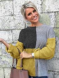 Недорогие -Жен. Контрастных цветов Длинный рукав Пуловер, Круглый вырез Черный / Желтый S / M / L