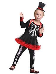 Недорогие -Пираты Косплэй Kостюмы Детские Девочки Хэллоуин Хэллоуин Фестиваль / праздник Спандекс Полиэфир / полиамид Черный Карнавальные костюмы