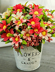 povoljno -Umjetna Cvijeće 1 Podružnica Klasični Europska Pastoral Style Hrizantema Cvjeće za stol
