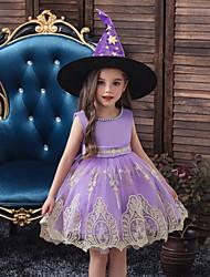 Недорогие -Дети Дети (1-4 лет) Девочки Активный Милая Однотонный Halloween Вышивка Без рукавов До колена Платье Черный