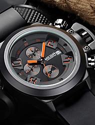 Недорогие -MEGIR Муж. Спортивные часы Армейские часы Наручные часы Кварцевый Цифровой силиконовый Черный / Белый 30 m Защита от влаги Календарь Секундомер Аналоговый / Нержавеющая сталь