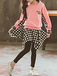 Недорогие -Дети Дети (1-4 лет) Девочки Классический Уличный стиль На каждый день Одежда для спорта и отдыха С принтом В клетку Многослойный Вышивка Длинный рукав Короткий Короткая Набор одежды Розовый