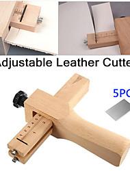 Недорогие -регулируемый резак для кожаных ремешков leathercraft полосовой ремень diy ручная резка деревянная полосовая фреза с 5 лезвиями кожаных инструментов