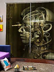 Недорогие -Украшение дома 3d цифровая печать шторы робот череп Хэллоуин тема на заказ род комплект занавес