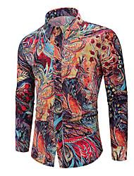 Недорогие -Муж. Рубашка Графика Цвет радуги
