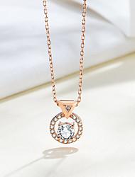 Недорогие -новые серебряные ювелирные изделия 925 пробы с круглым цирконом супер яркий кубический цирконий модный кулон женское ожерелье кулон размер около 9,7 мм * 12,4 мм длина цепи около 45 см (в том числе 5