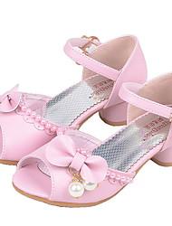 Недорогие -Девочки Удобная обувь Синтетика Обувь на каблуках Маленькие дети (4-7 лет) Бант / Жемчуг Белый / Розовый Лето