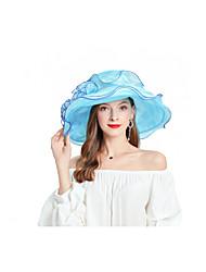 Недорогие -Жен. Для вечеринки Симпатичные Стиль Панама Широкополая шляпа Шляпа от солнца Шифон,Цветочный принт Светло-синий