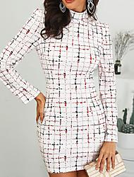 Недорогие -Жен. Облегающий силуэт Оболочка Платье - Геометрический принт Мини