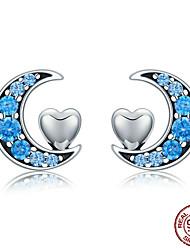 Недорогие -Подлинная 100% серебро 925 пробы синяя луна&усилитель; Серьги-гвоздики в форме сердца для женщин из стерлингового серебра S925 Sce330