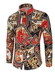 Недорогие -Муж. Рубашка Классический Контрастных цветов Красный