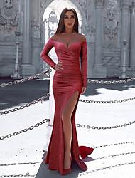 Недорогие -Жен. Изысканный Элегантный стиль Облегающий силуэт Оболочка Платье - Однотонный, Открытая спина Плиссировка С разрезами Макси Красный