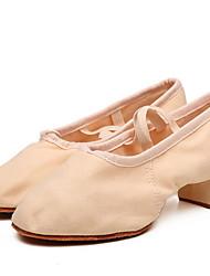 Недорогие -Жен. Танцевальная обувь Полотно Обувь для джаза Кроссовки На плоской подошве Черный / Бежевый / Красный