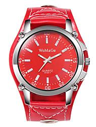 Недорогие -Муж. Нарядные часы Кварцевый Кожа Черный / Белый / Красный Повседневные часы Крупный циферблат Аналоговый Мода - Черный Коричневый Красный Один год Срок службы батареи