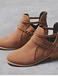 Недорогие -Жен. Ботинки На низком каблуке Круглый носок Полотно Ботинки Весна & осень Черный / Коричневый / Серый