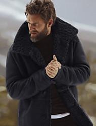 billige -Herre Daglig Normal Frakke, Ensfarvet Peter Pan-krave Langærmet Polyester Sort / Grøn / Grå US34 / UK34 / EU42 / US36 / UK36 / EU44 / US38 / UK38 / EU46