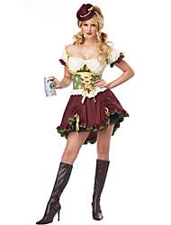 billige -Halloween Karneval Oktoberfest dirndl Dame bayerske Vin Kjole Hat