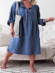 povoljno -Žene Majica Haljina Jednobojni Midi