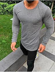 billige -Herre - Stribet Kvast T-shirt Grå