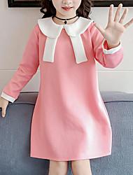 Недорогие -Дети Девочки Симпатичные Стиль Уличный стиль Пэчворк Пэчворк Длинный рукав Платье Розовый