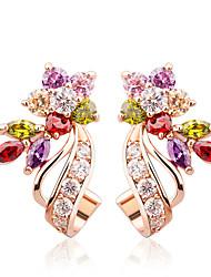 billige -guldfarve øreringe med blomsterform hvid / flerfarvet aaa zirkon til kvinder trend smykker 2,3 cm * lang og 1,3 cm bred 1,0 cm enkelt blomst