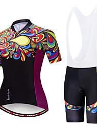 billige -EVERVOLVE Dame Kortærmet Cykeltrøje og shorts med seler Sort Hvid Cykel Sport Bomuld Patchwork Bjerg Cykling Vej Cykling Tøj / Avansert / Høj Elasticitet