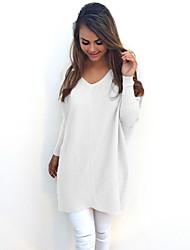 Недорогие -Жен. Однотонный Длинный рукав Пуловер, V-образный вырез Черный / Белый / Желтый S / M / L