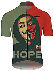 Недорогие -21Grams V for Vendetta Кино Муж. С короткими рукавами Велокофты - Красный + коричневый Велоспорт Джерси Верхняя часть Дышащий Быстровысыхающий Со светоотражающими полосками Виды спорта 100% полиэстер