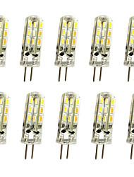 Недорогие -jiawen 10шт 1w 120lm g4 светодиодные двухконтактные светильники кукурузная лампа 24led smd 3014 декоративная люстра лампа теплый белый / холодный белый AC / DC 12 В