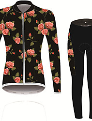 cheap -21Grams Women's Long Sleeve Cycling Jersey with Tights Black / Red Solid Color Floral Botanical Bike UV Resistant Quick Dry Sports Spandex Solid Color Mountain Bike MTB Road Bike Cycling Clothing