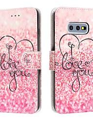 Недорогие -Кейс для Назначение SSamsung Galaxy S9 / S9 Plus / Galaxy S10 Кошелек / Бумажник для карт / Защита от удара Чехол С сердцем Кожа PU