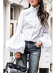 Недорогие -Жен. Рубашка Уличный стиль Однотонный Черный