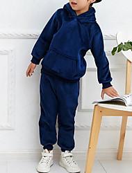 Недорогие -Дети Мальчики Активный Уличный стиль На каждый день Спортивная одежда Однотонный Длинный рукав Обычный Набор одежды Синий