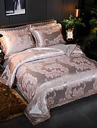 Недорогие -Европейский сатин модальное жаккардовое кружево 4-х частей костюм Tencel свадебное одеяло покрывало простыни комплект постельного белья