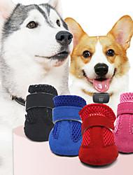 Недорогие -Животные Собака Ботинки и сапоги Обувь для собак На каждый день Однотонный Для домашних животных Кожа Черный / Лето / Зима