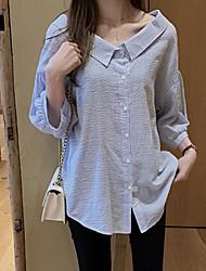 Недорогие -Жен. Рубашка Классический Полоски Белый