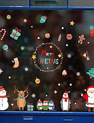 Недорогие -Рождество милый мультфильм оконная пленка&усилитель; наклейки украшения с рисунком / рождественские геометрические / символ пвх (поливинилхлорид) наклейка окна / дверная наклейка