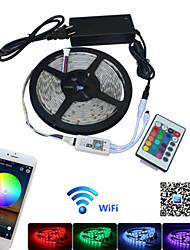 billige -5 m Fleksible LED-lysstriper / RGB-lysstriper / Fjernkontroller 150 LED 5050 SMD 1 24Kjør fjernkontrollen / 1 x 12V 2A adapter Multifarget Vanntett / APP-kontroll / Fest 85-265 V 1set