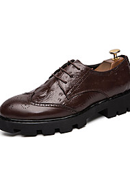 baratos -Homens Sapatos de couro Couro Ecológico Outono & inverno Negócio Oxfords Preto / Marron