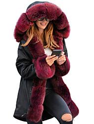 Недорогие -Жен. Повседневные Зима Длинная Искусственное меховое пальто, Однотонный Капюшон Длинный рукав Полиэстер Черный / Винный / Верблюжий