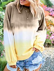 abordables -Tee-shirt Femme, Bloc de Couleur Basique Noir