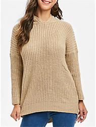 abordables -Femme Couleur Pleine Manches Longues Pullover, Capuche Noir / Kaki Taille unique