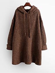 abordables -Femme Couleur Pleine Manches Longues Pullover, Capuche Marron / Gris Foncé Taille unique