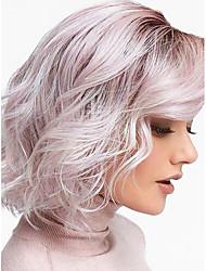 Недорогие -Парики из искусственных волос Волнистые Стиль Стрижка боб Машинное плетение Без шапочки-основы Парик Омбре Черный / розовый Искусственные волосы 12inch Жен. Без запаха Регулируется Жаропрочная Омбре