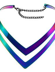 abordables -Collier Femme Géométrique Verticale Mode Adorable Arc-en-ciel 40+13 cm Colliers Tendance Bijoux 1pc pour Quotidien Travail V Shaped