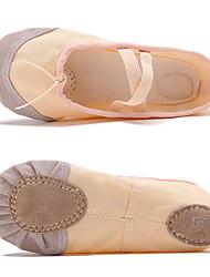 Недорогие -Девочки Танцевальная обувь Полотно Обувь для балета На плоской подошве На плоской подошве Черный / Белый / Миндальный / Тренировочные