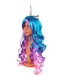 Недорогие -Косплей Unicorn Пони Косплэй парики Жен. 24 дюймовый Синтетика Разноцветный Белый Лиловый Чернильный синий Аниме