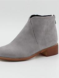 billige -Dame Støvler Blokker hælen Rund Tå Fuskelær Ankelstøvler Vintage / minimalisme Høst vinter Svart / Brun / Grå